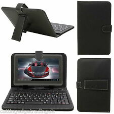 "7"" inch Android Tablet PU Leather Micro or Mini USB Keyboard Stand Case, Black"