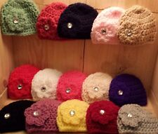 CHUNKY HAND CROCHETED BABY GIRLS HATS - DIAMANTE  -  NEWBORN- WOMENS