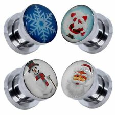 1 Flesh Tunnel Ear Plug Piercing Winter Christmas Snowman Snowflake Frost