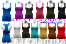 WOMEN'S SPORTS SLEEVELESS MUSCLE  BRA VEST LADIES RACER BACK TOP ONE SIZE (6-12)
