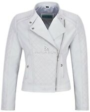 Woman's Real Leather Jacket White Biker Style Fitted Diamond Shape Front Panel