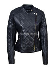 Ladies Fashion Black Jacket Leather Front Diamond Quilted 100% REAL LEATHER