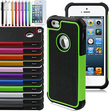 Plastic Rubber Shock Proof Case for iPhone 5 5s + Free Stylus