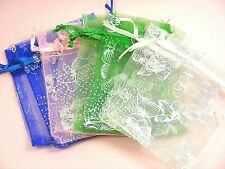 10 / 20 / 40 ORGANZA Silk Favor Gift POUCH BAGS  7 x 9cm ~Printed or Plain Style