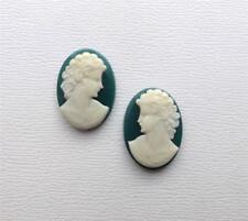 6 Vintage Lady Resin Cameos 25 x 18 mm