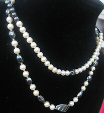 Hematite and Pearl 925 Silver Necklace Bracelet Set with Swarovski Elements