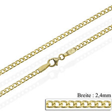 2,40 mm Panzerkette Massiv Gold 375 40 60 cm Herren Damen Gold Kette Gelbgold