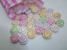HANDMADE CLAY LOVE HEART SWEETS NOVELTY MAGNETS LOTS OF WORDS