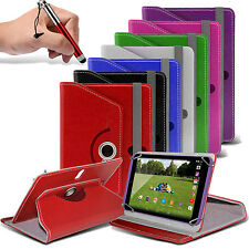 """360° Rotating Luxury PU Leather Spring Stand Case Cover✔Pen Swivel - 7"""" Tablets"""