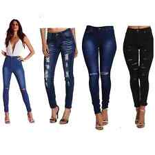 UK WOMENS HIGH WAIST RIPPED KNEE SLIM SKINNY JEANS LADIES JEGGINGS 6/8/10/12/14