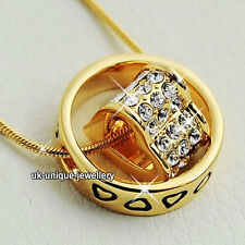 Unique Crystal Diamond Heart Ring Love Necklace Rare Xmas Birthday Gift For Her