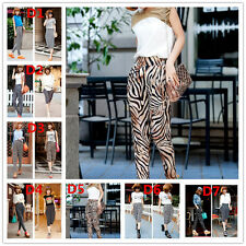Mujer Harén Liso Leopardo Animal Azteca Pantalones Estampados leggings