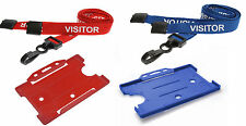 Printed Visitor Lanyards Red or Blue Plastic Clip & Open Faced ID Badge Holder