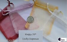 1946 70th Silver Lucky Sixpence George VI in Organza Bag BIRTHDAY Gift / Card