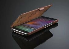NEW GENUINE LEATHER FLIP CASE COVER FOR SAMSUNG GALAXY NOTE 4 IV