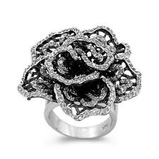 Black Rose CZ Ring, 925 Sterling Silver, Big Flower Petals Trendy w Gift Box