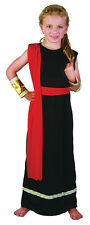 Girls #Ancient Lady Roman / Greek Goddess Queens Black Toga Fancy Dress Outfit