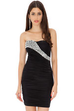 GLAM Little Black Super Stretch Crystal Cocktail Dress Rocks Boutique