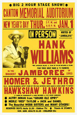Vintage Hank Williams 1950s Jamboree Concert Poster Canton Memorial Country C&W