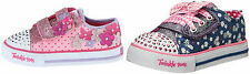 Girls Skechers Twinkle Toes Pretty Blossoms & Daisy Dotty Flashing Velcro Shoe