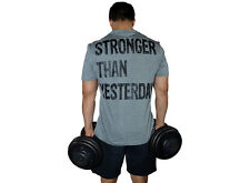 GYM MENS T-SHIRT BODYBUILDING MUSCLE JERSEY COTTON TRAINING TEE WORKOUT SHIRT