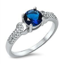 Trendy Blue Sapphire CZ Ring, September Gift w/ Free Box, Modern Design, Girly