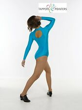 NYLON LYCRA LONG SLEEVED TURTLE NECK GYMNASTIC/DANCE LEOTARD WITH KEYHOLEBACK