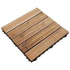 30CM SQ WOODEN DECKING TILES DECK EASY CLICK SLABS GARDEN OUTDOOR PATIO FLOOR