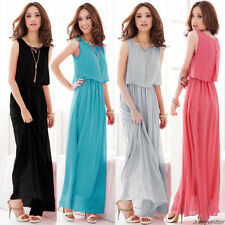 Women Chiffon Maxi Dress Size 8-24 Summer Long Skirt Evening Cocktail Party Tops