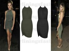 New Womens Celeb Inspired Backless Halter Neck Drape Mini Party Bodycon Dress