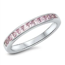 Pink CZ Ring, Eternity Gift, 925 Sterling Silver, w/ Free Gift Box, Girly Trendy