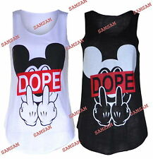 Women Ladies Sleevles Middle Finger Dope Micky Mouse Print T Shirt Tank Vest Top