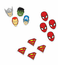 12 x Super Hero Erasers Party Loot Bag Fillers Superman Avengers Spiderman