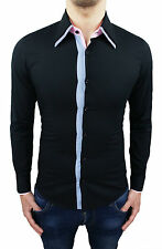 CAMICIA UOMO DIAMOND NERO SLIM FIT SUPER ADERENTE CASUAL  taglia XS S M L XL XXL