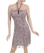 BNWT Soft Romantic Grey Sheer Lace Butterfly Cocktail Halterneck Dress S/M/L