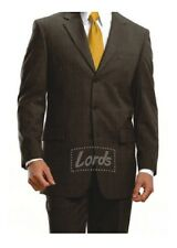 Men's Corporate Wear Brown Checked Suit - 3 Button Blazer, Trouser, Shirt & Tie