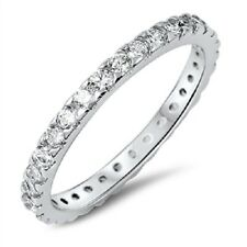 Sparkling Thin CZ Ring, 925 Sterling Silver, Girly, Trendy, w/Free Gift Box, Mom