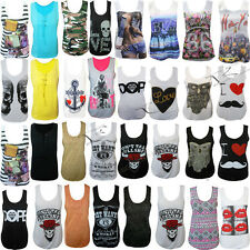 LADIES GRAPHIC MULTI  PRINT COTTON WOMEN'S T-SHIRT GIRLS VEST TOP  S/M , M/L