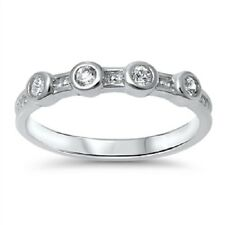 Four Stone CZ Ring, 925 Sterling Silver, w/Free Gift Box, Plain, Trendy, Girly