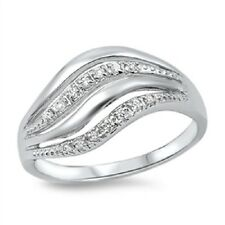 Sparkling Wave CZ Ring, Abstract, 925 Sterling Silver, w/Free Gift Box, Trendy