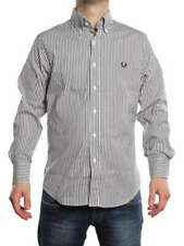 FRED PERRY CAMICIA RIGATA STRETCH AND SLIM NERO/BIANCO 30212528 Camicia manica l