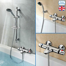 WALL MOUNTED THERMOSTATIC CHROME BATH SHOWER MIXER 3 MODE HANDSET RISER RAIL