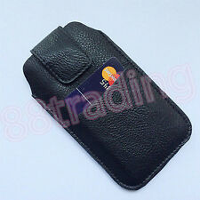 Vertical Leather Waist Carry Case with Front Card Slot for Extra Large Phone