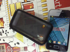Black Rubber Bumper Transparent Solid Back Case For Samsung Galaxy Ace S5830