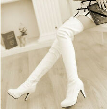 Chic Ladies Shoes High Heels Pleated Knee High Thigh Boots Womens Cuffed Pumps