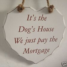 Shabby Chic Hanging Decorative White Heart Plaque with Text