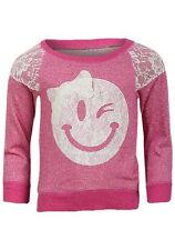 NEW One Step Up Girls Smiley Face Design Lace Appliqué Pink Sweatshirt Age 6-7y