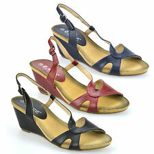 Ladies Womens Mid Wedge Heel Peep Toe Slingback Summer Mules Sandals Shoes Size