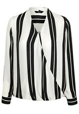 Womens  bold Striped Wrap Front Shirt Blouse long sleeves Size 6-20