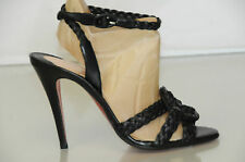 New CHRISTIAN LOUBOUTIN Marilou Black Ankle Strap Sandals Heels SHOES 37.5